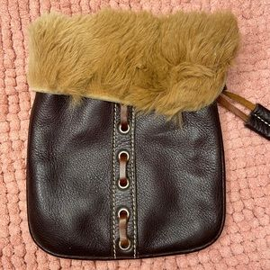 Roots genuine leather and fur pouch